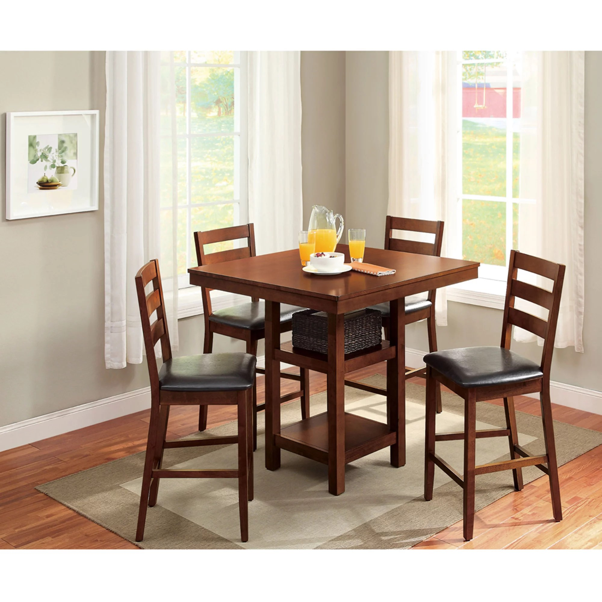 solid oak dining table and chairs diy office chair better homes gardens dalton park 5 piece counter height set walmart com