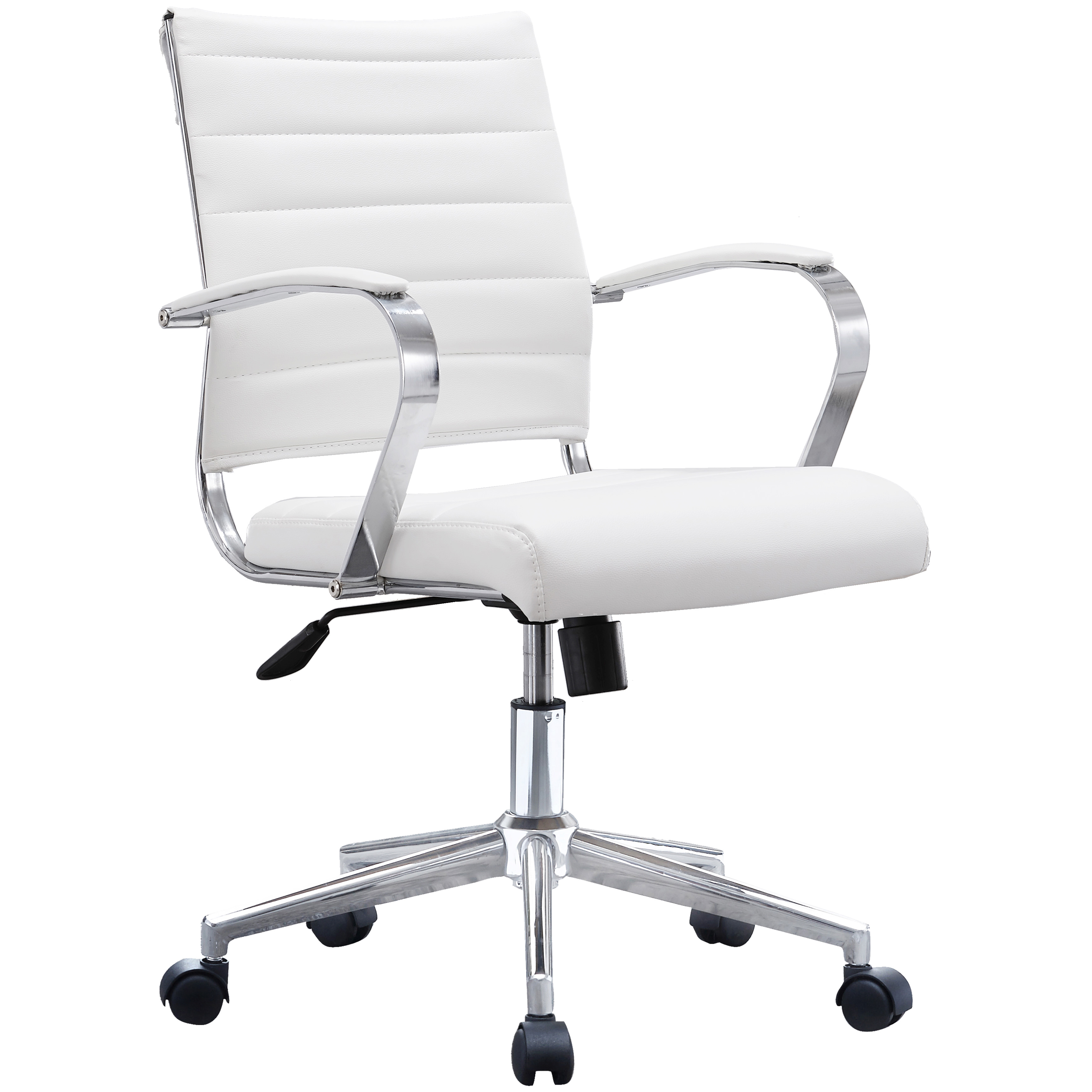 office chair ergonomic cushion graco duodiner lx high white ribbed modern mid back pu leather with seat task swivel tilt arms conference room chairs manager executive boss