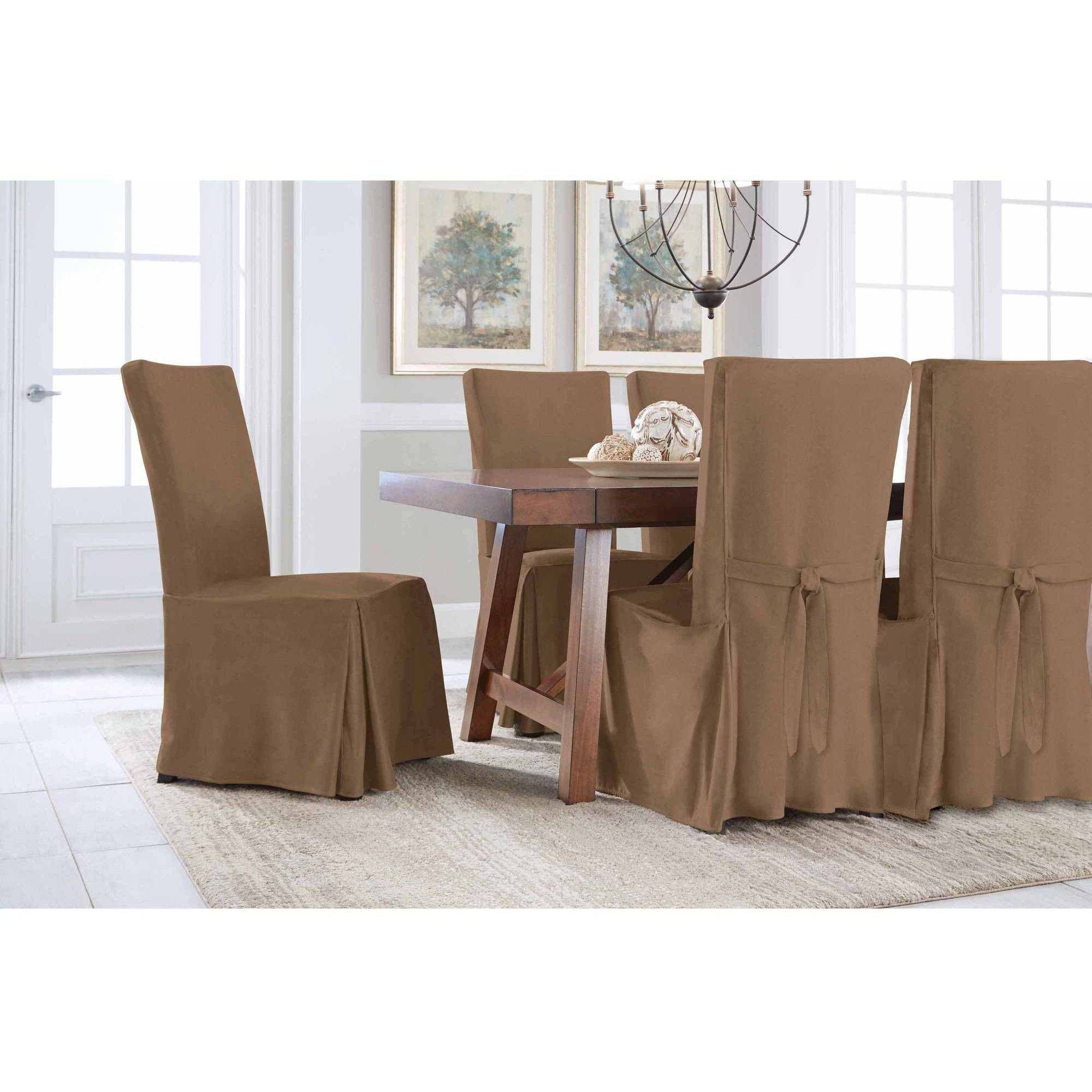Dining Chair Slipcover Serta Relaxed Fit Smooth Suede Furniture Slipcover 2 Pack Dining Parsons Chair Long Skirt