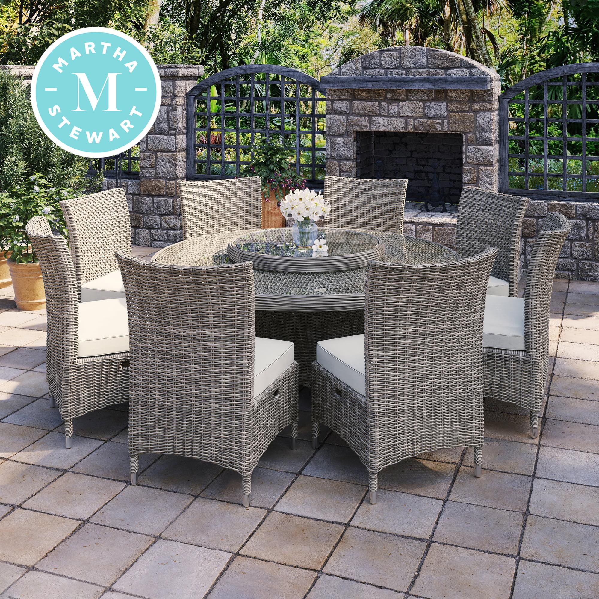 martha stewart high field 9 piece aluminum frame brown round patio dining set walmart com