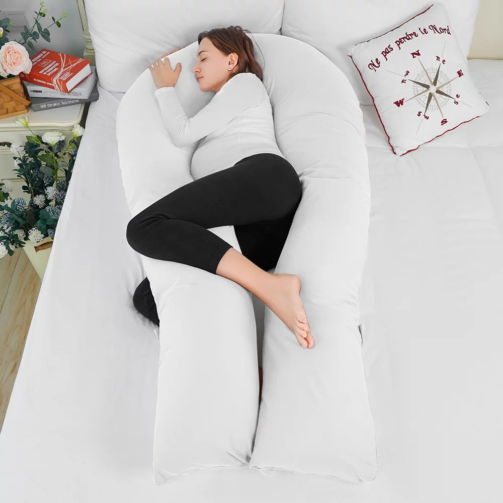queen rose pregnancy full body pillow 65in u shaped maternity pillow for pregnant women includes white cotton cover walmart com