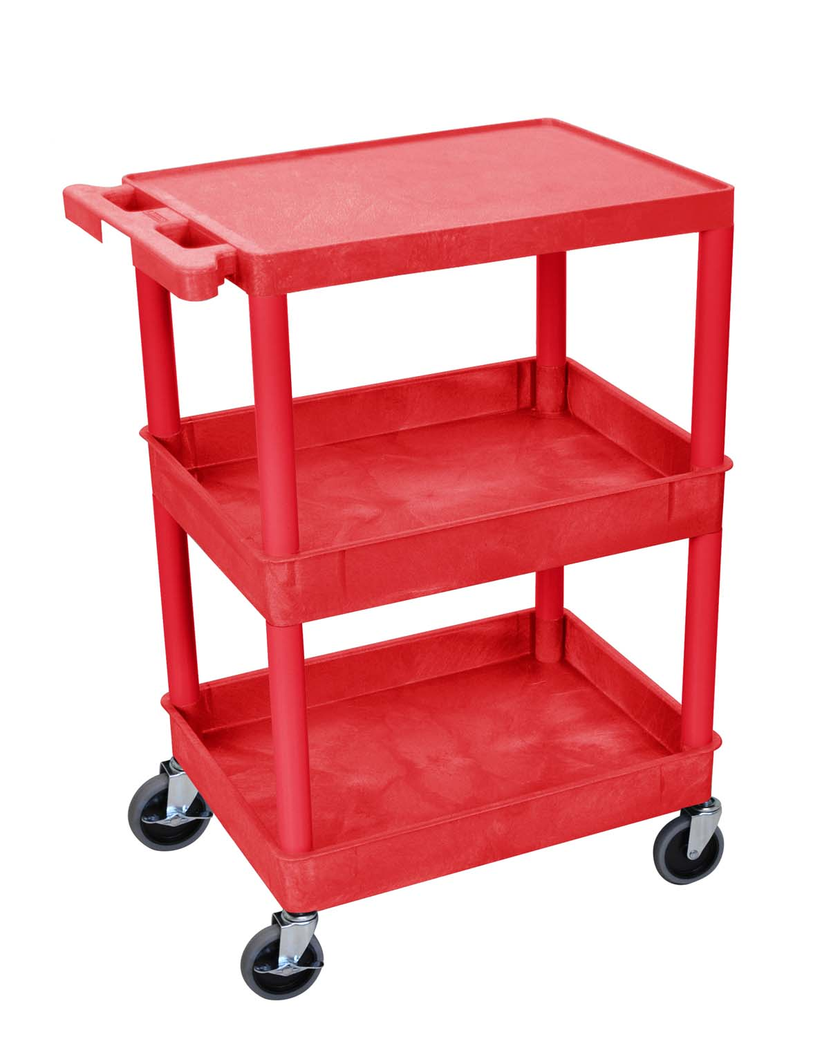 Offex Of Stc211 Flat Top And Tub Middle Bottom Shelf Cart