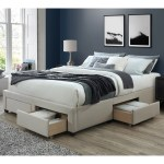 Dg Casa Cosmo Upholstered Platform Bed Frame Base With Storage Drawers Queen Size In Beige Linen Style Fabric Walmart Com Walmart Com