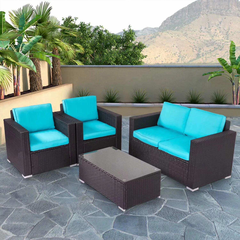 kinbor 4pcs outdoor patio furniture pe rattan wicker rattan sofa sectional set with blue cushions