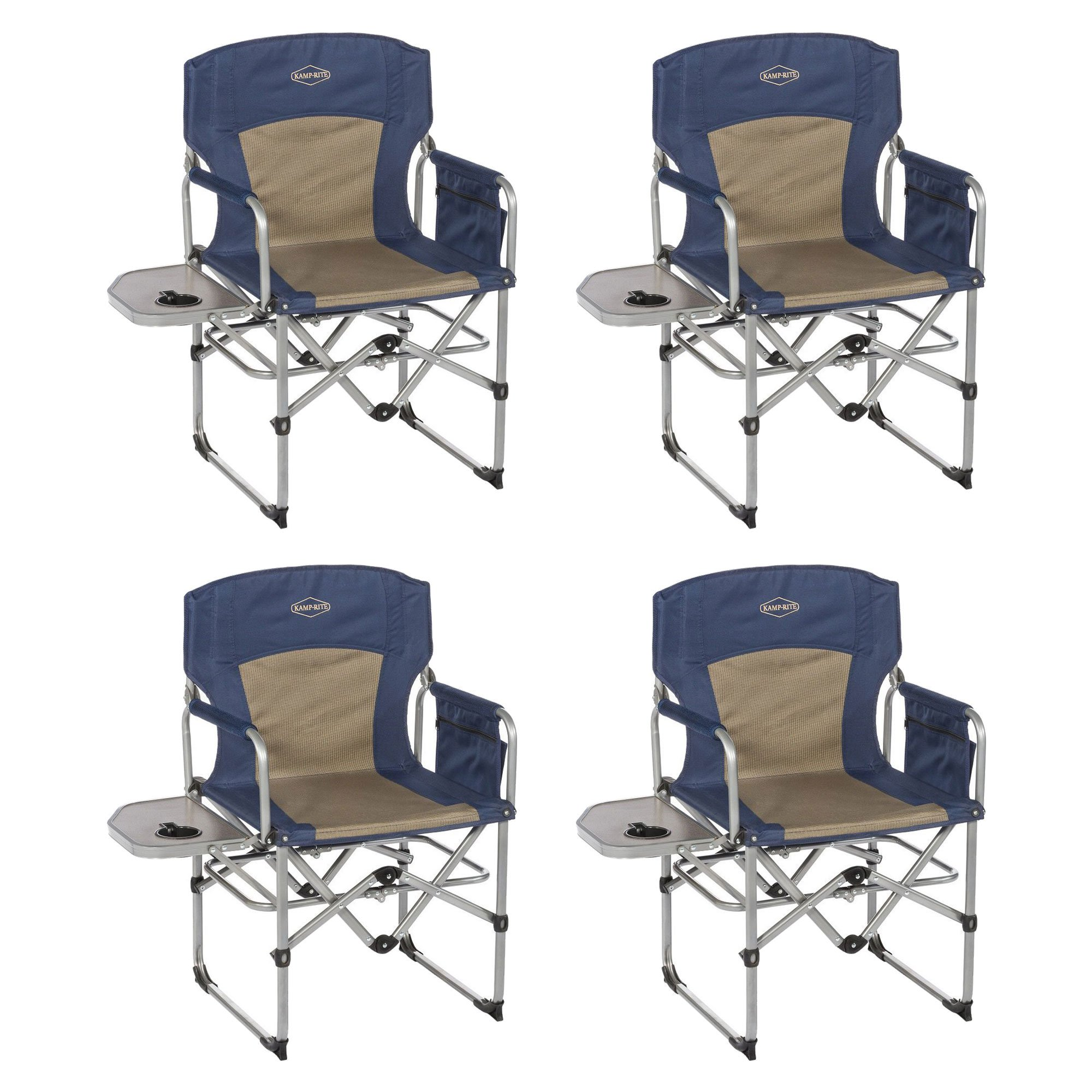 Folding Camp Chair With Side Table Kamp Rite Compact Folding Outdoor Camping Chair With Side Table 4 Pack