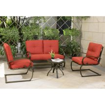 Cloud Mountain Wrought Iron 4 Piece Patio Conversation Set