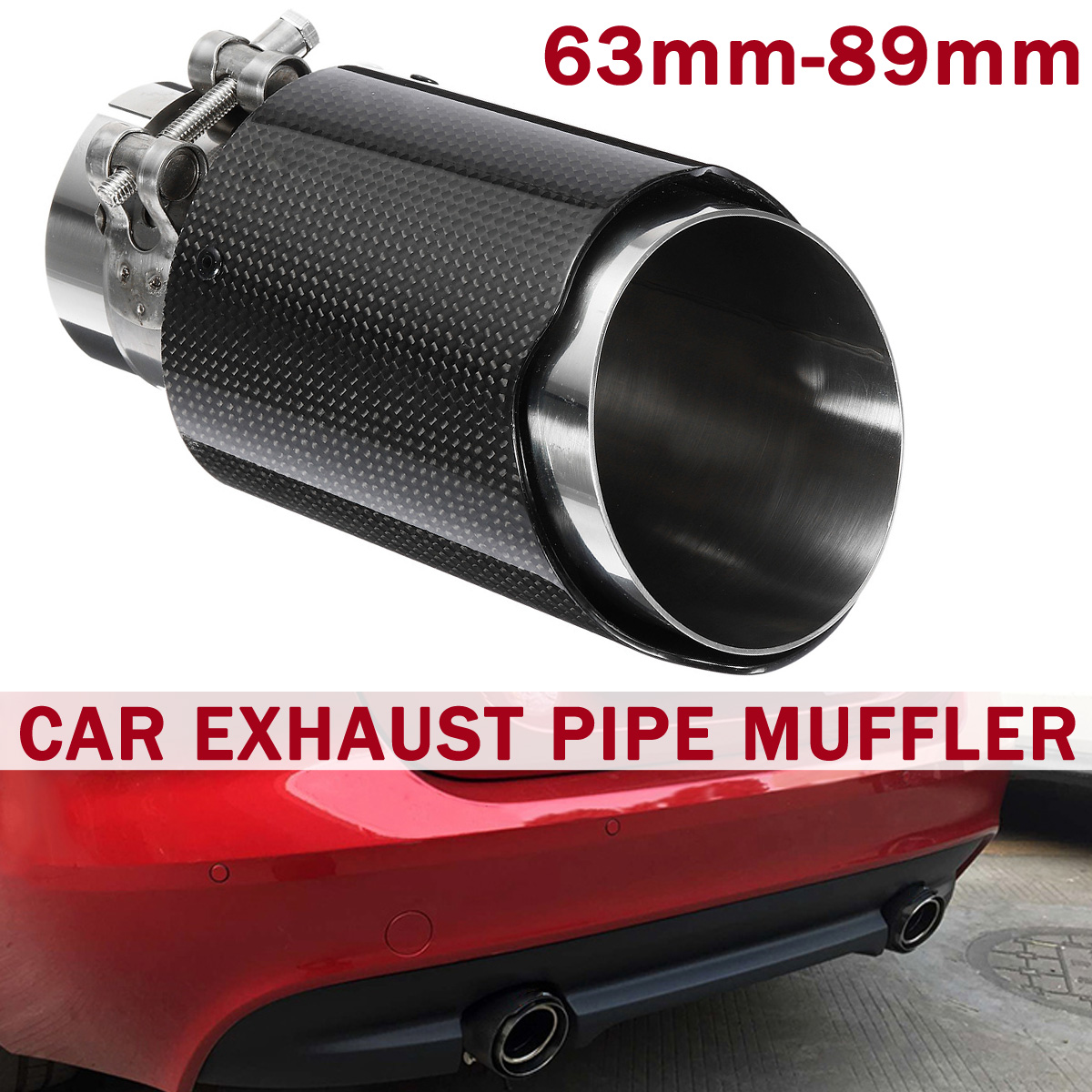carbon fiber exhaust tip 63mm in 89mm
