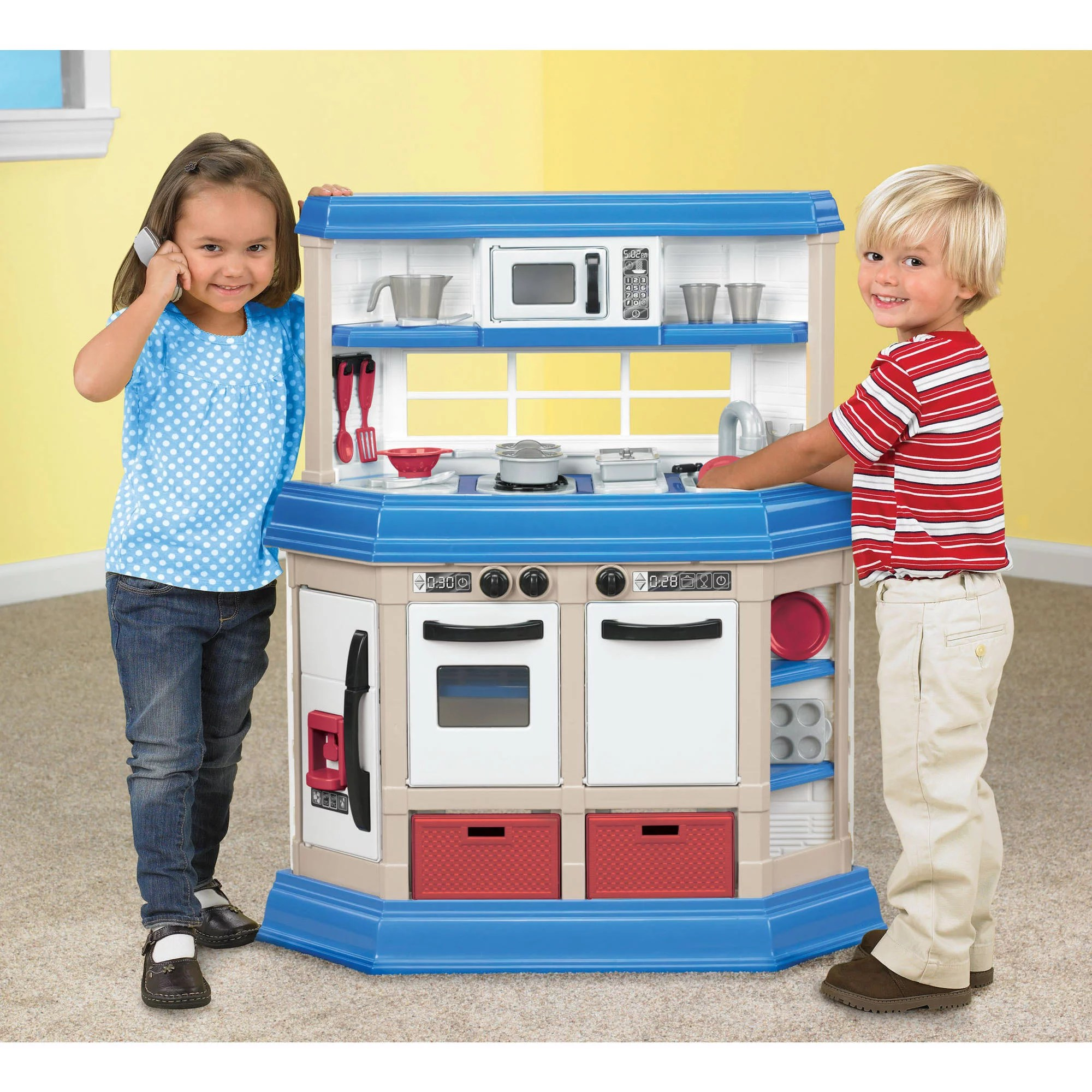 toy kitchen sets latest trends in flooring modern 16 battery operated playset perfect for use with 11 12 tall dolls walmart com