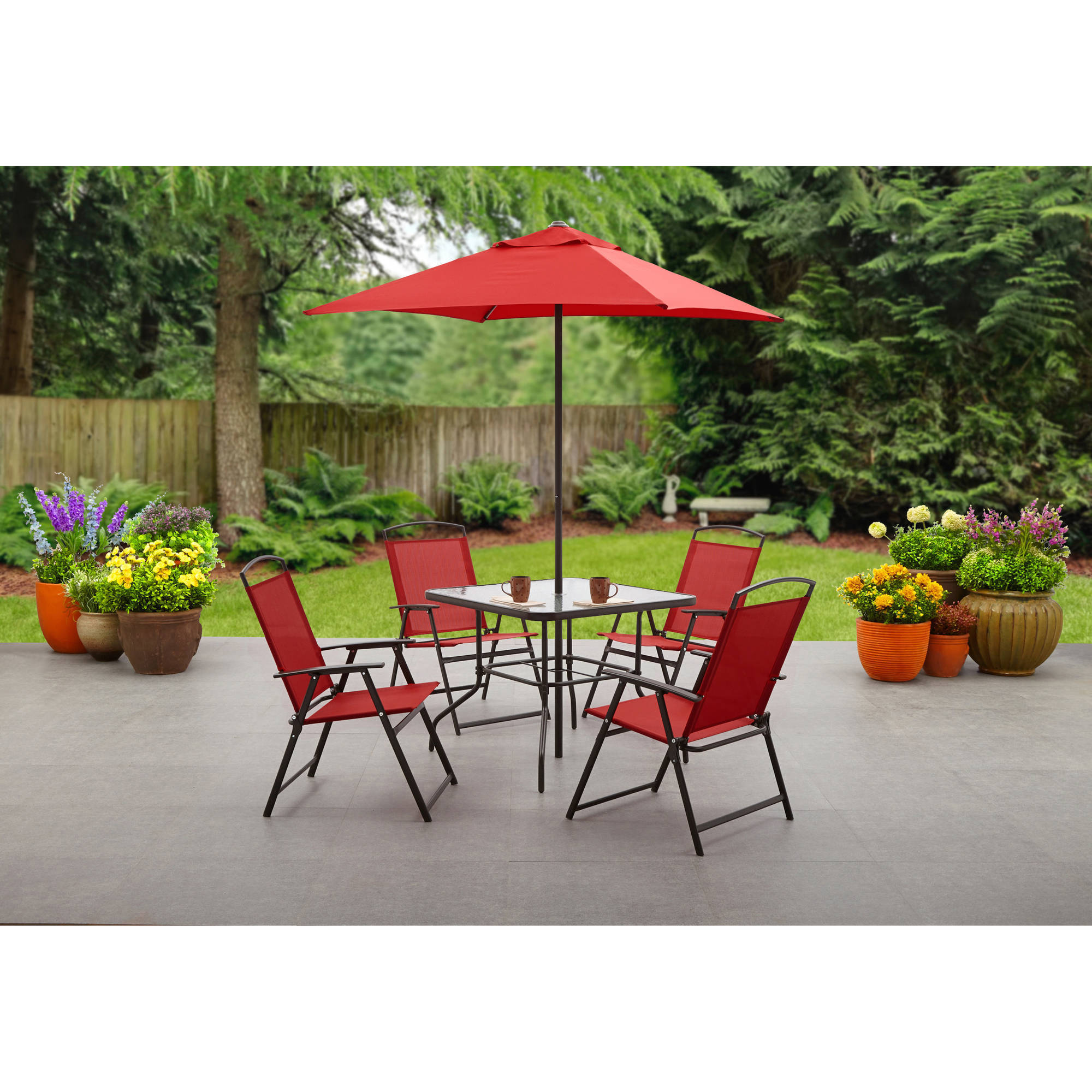 Outdoor Table And Chair Set Mainstays Albany Lane 6 Piece Folding Dining Set Multiple Colors