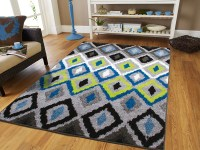 Luxury Diamonds Area Rugs on Clearance 5x7 Blue Green ...