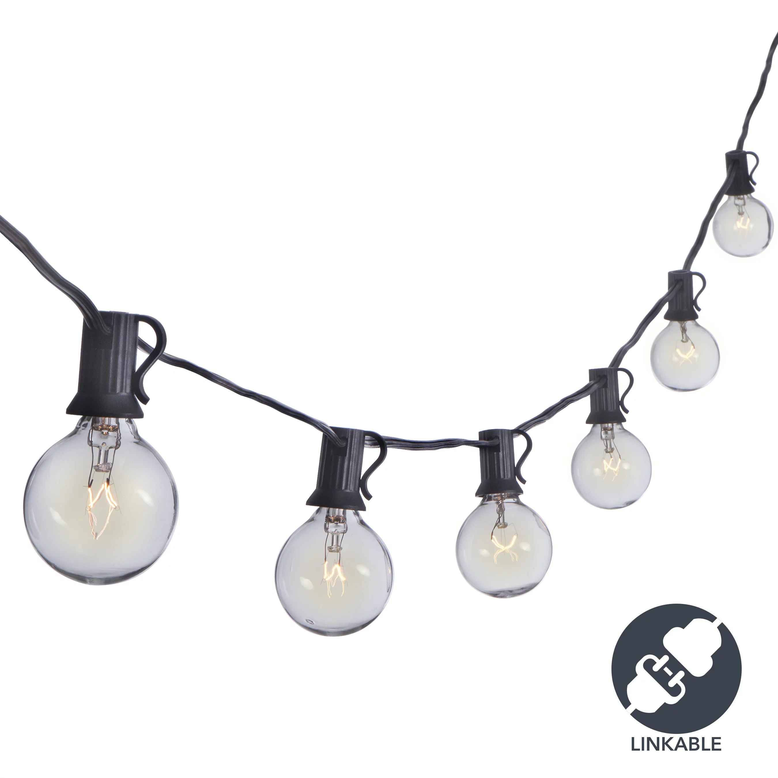 sterno home sterno home 25 ft connectable clear globe outdoor string lights g40 bulbs on black cord for backyard weddings patio porch tents and