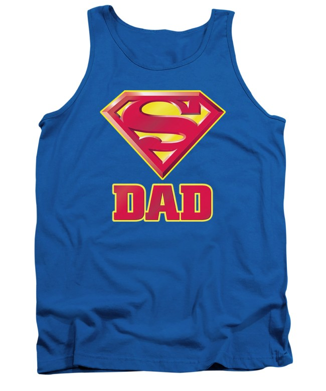Superman Logo Dads Super Fathers Day Mens Tank Top Shirt (XX-Large, Blue)