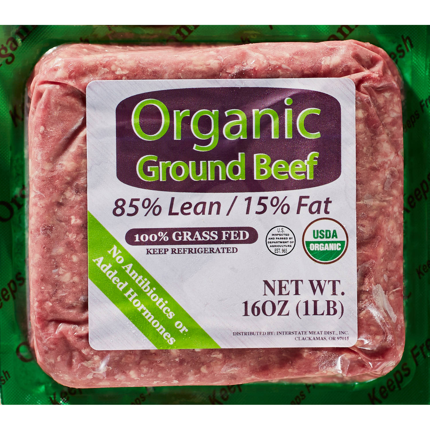 85 Lean15 Fat Organic Grass Fed Ground Beef 1 lb
