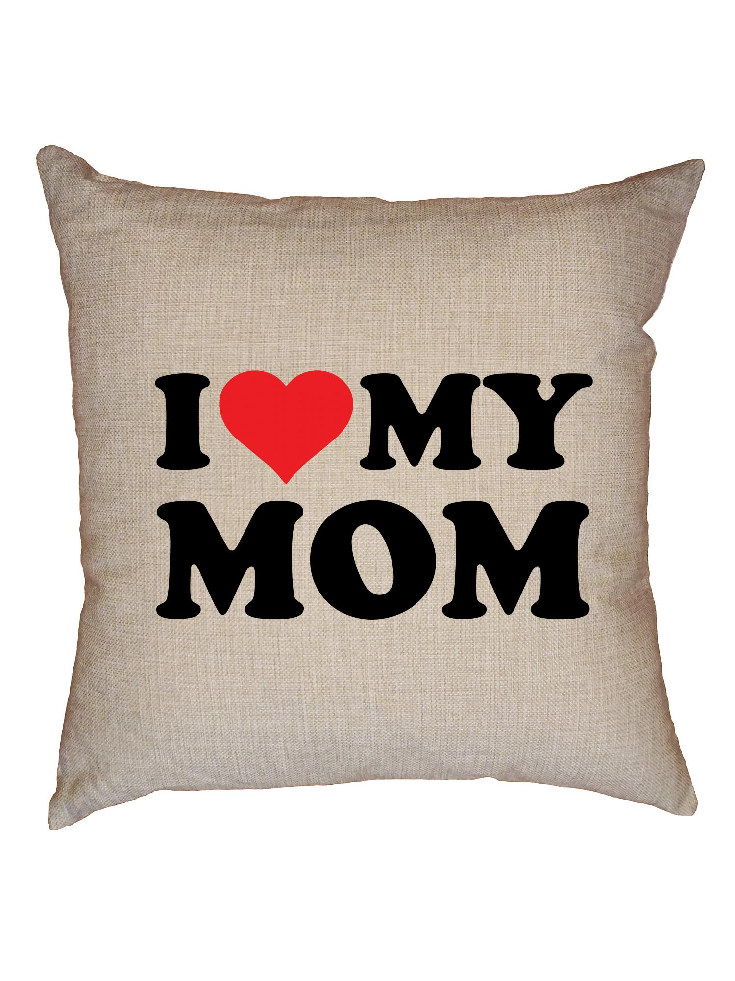 i love my mom big red heart perfect mother gift decorative linen throw cushion pillow case with insert