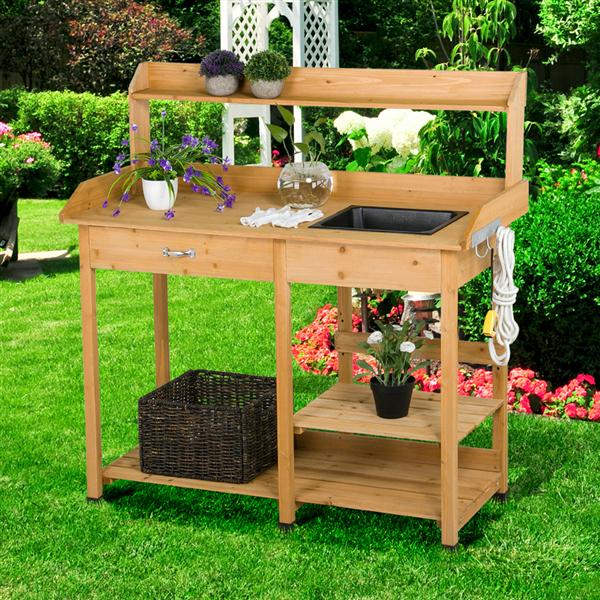 yaheetech outdoor garden potting bench potting tabletop with sink drawer rack shelves work station