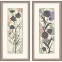 """Framed Graphic """"Floral Silo"""" Wall Art, 12"""" x 24"""", Set of 2 ..."""