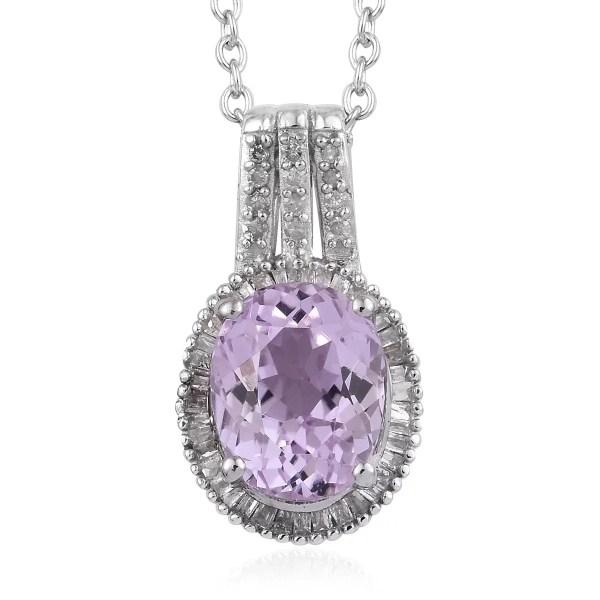 Lc - 925 Sterling Silver Aa Premium Martha Rocha Kunzite Diamond Pendant Necklace 20