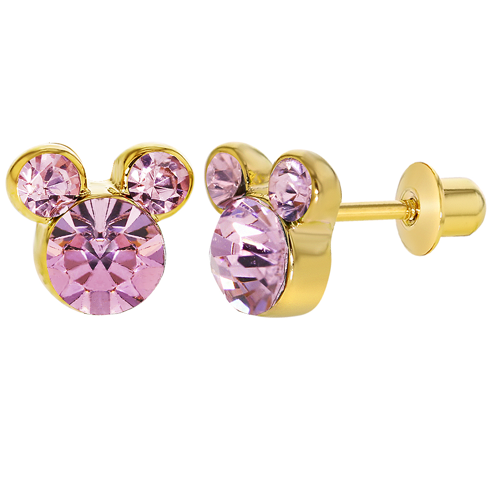 18k Gold Plated Pink Crystal Mouse Children's Toddler