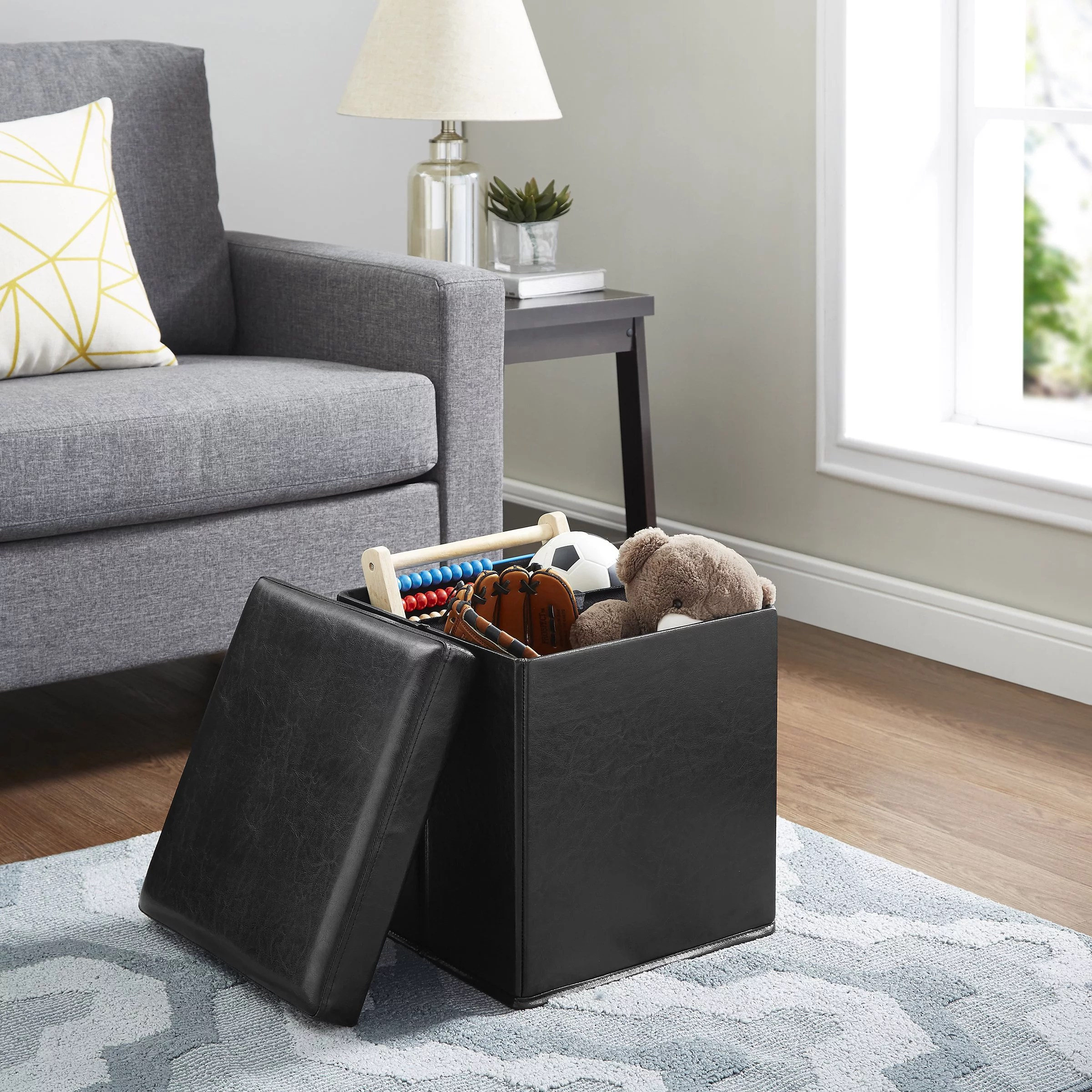 mainstays ultra collapsible storage ottoman multiple colors