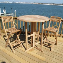 Windsor Teak Furniture Wood 3 Piece Bar Height Patio