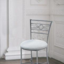 Bathroom Makeup Chair Ring Back Chrome Vanity Stool Bedroom Bath Decor Seat Padded