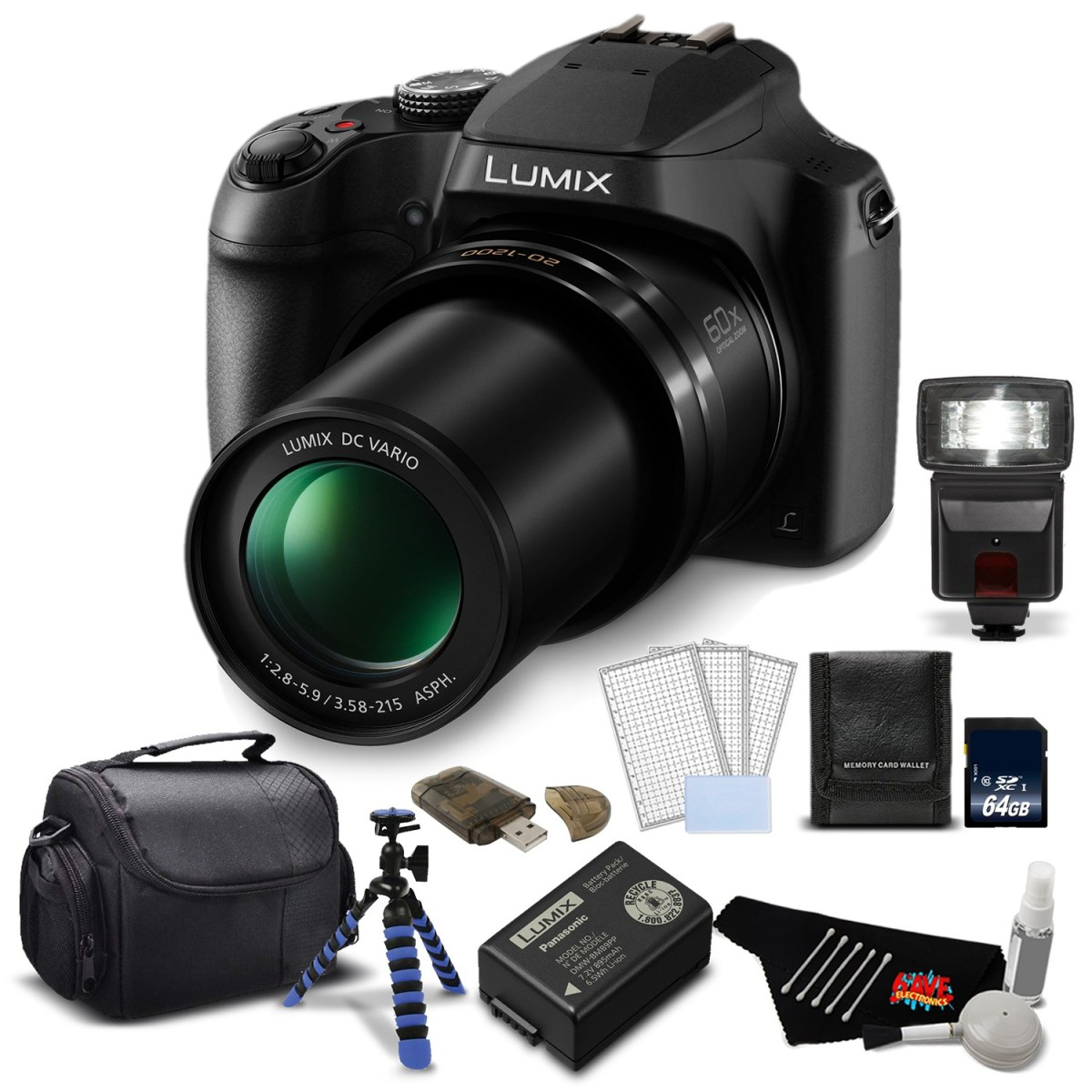 Panasonic Lumix DC-FZ80 60X Zoom Camera Bundle with 64GB Memory Card