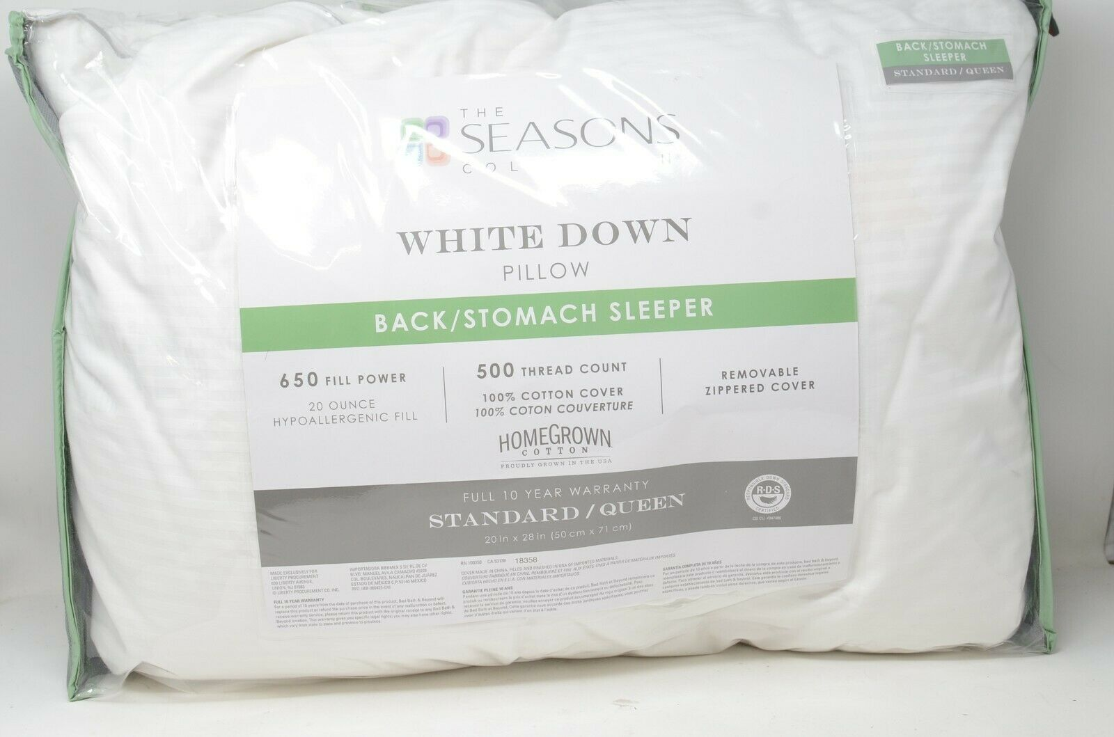 the seasons collection white down standard queen back sleeper pillow