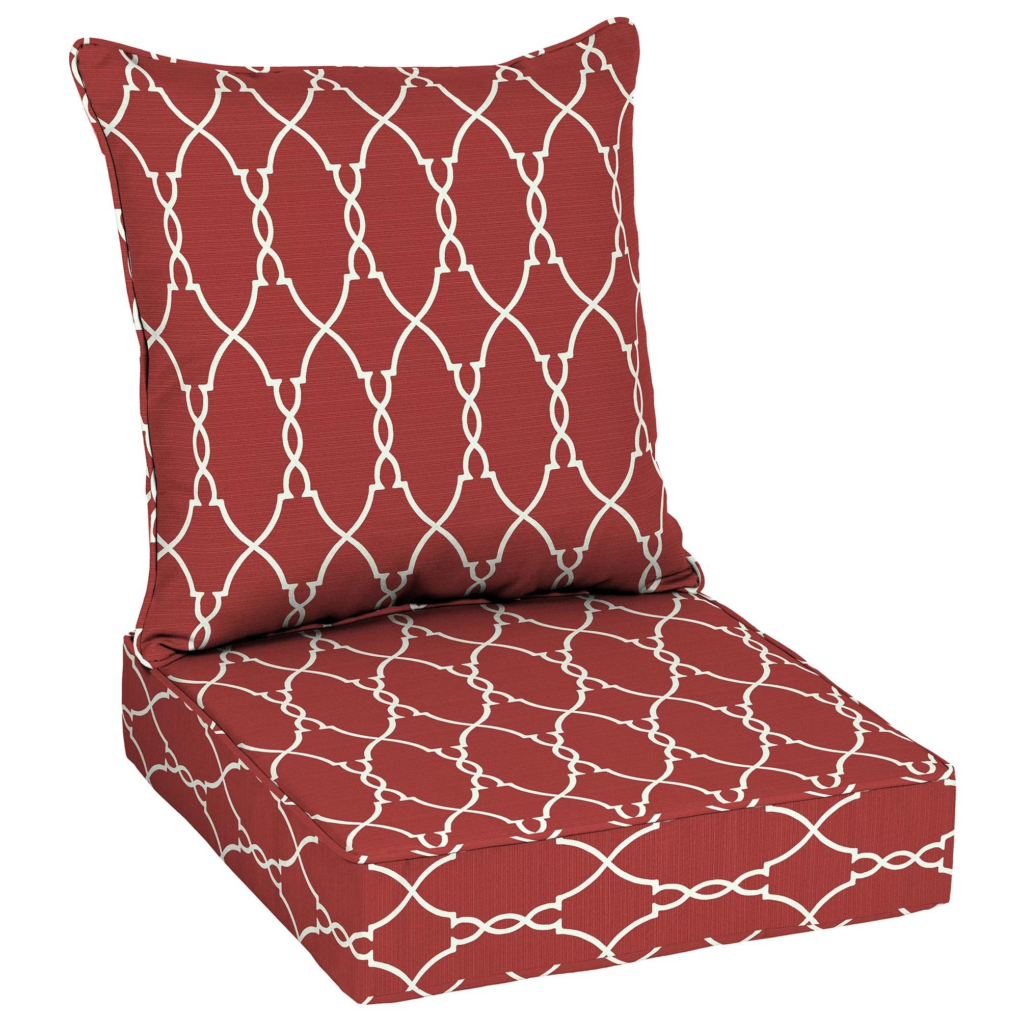 better homes gardens red trellis outdoor deep seat cushion set with enviroguard 48 l x 24 w x 5 75 h walmart com