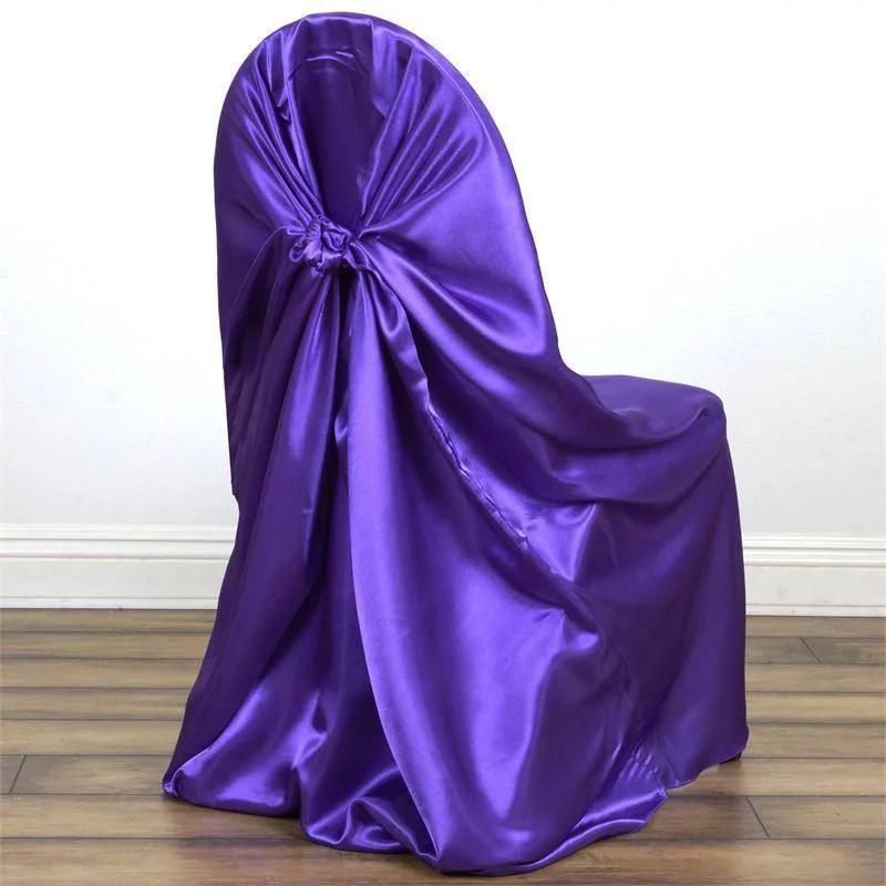 wedding chair covers lilac cheap kids desk 5pcs silky satin universal purple walmart com