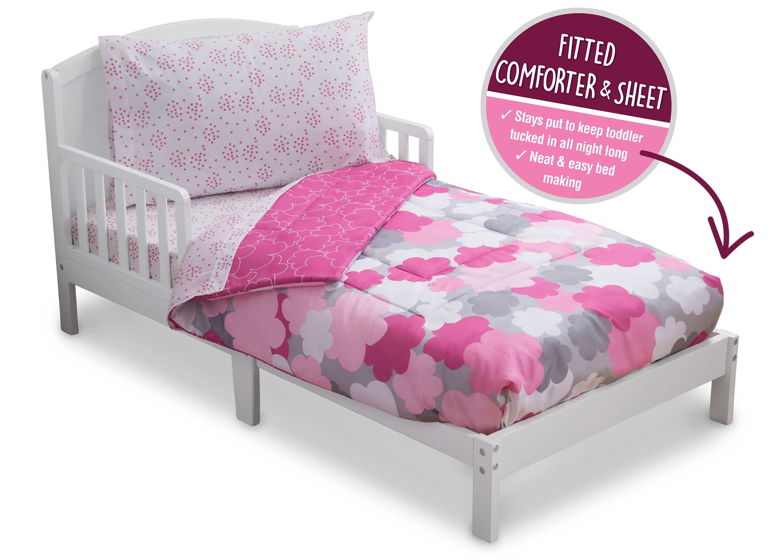 delta children reversible girls toddler 4 piece bedding set fitted sheet flat top sheet w elastic bottom fitted comforter w elastic bottom