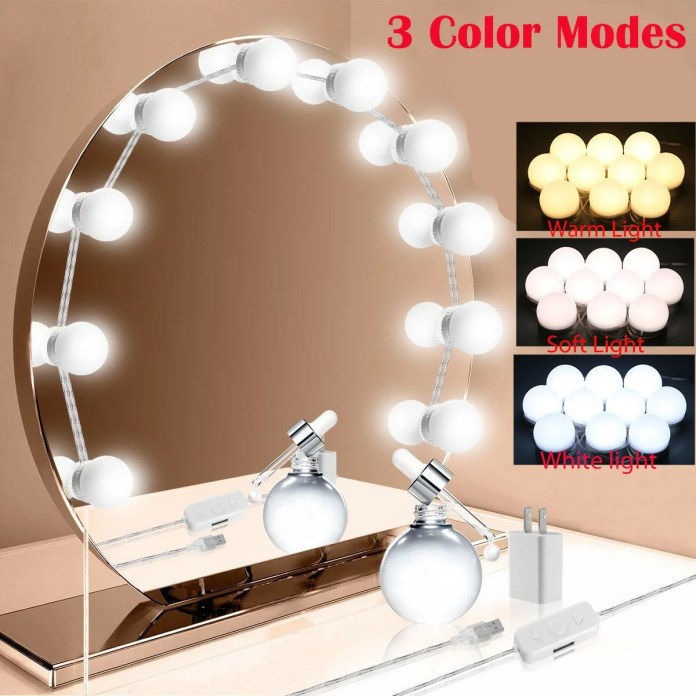 Vanity Lights For Mirror 10led Hollywood Lighted Makeup Vanity Mirror With Dimmable Lights Bulb Stick On Led Mirror Light Kit For Vanity Set Usb Makeup Light For Bathroom Dressing Room Wall Mirror