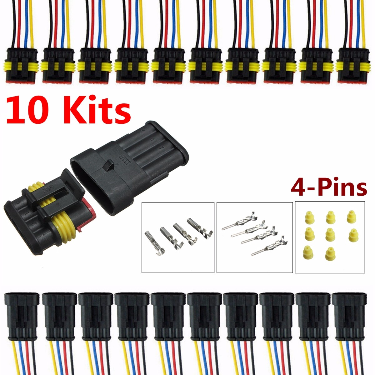 audew 10 kits 4 pin way electrical wire connector plug car auto about 10 kit 4 pin way waterproof electrical wire connector plug [ 1200 x 1200 Pixel ]