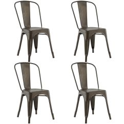 Set Of 4 Dining Chairs Swivel Chair Habitat Costway Side Stackable Bistro Cafe Metal Stool Vintage Walmart Com