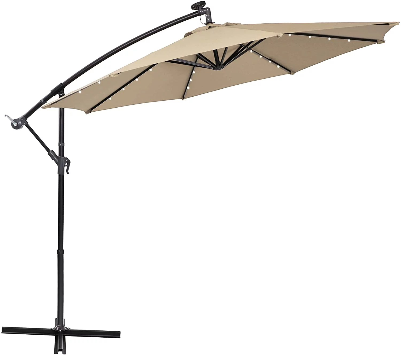 mf studio 10ft offset hanging umbrella with 32 pcs led lights solar powered patio umbrella with crossbase 8 ribs beige