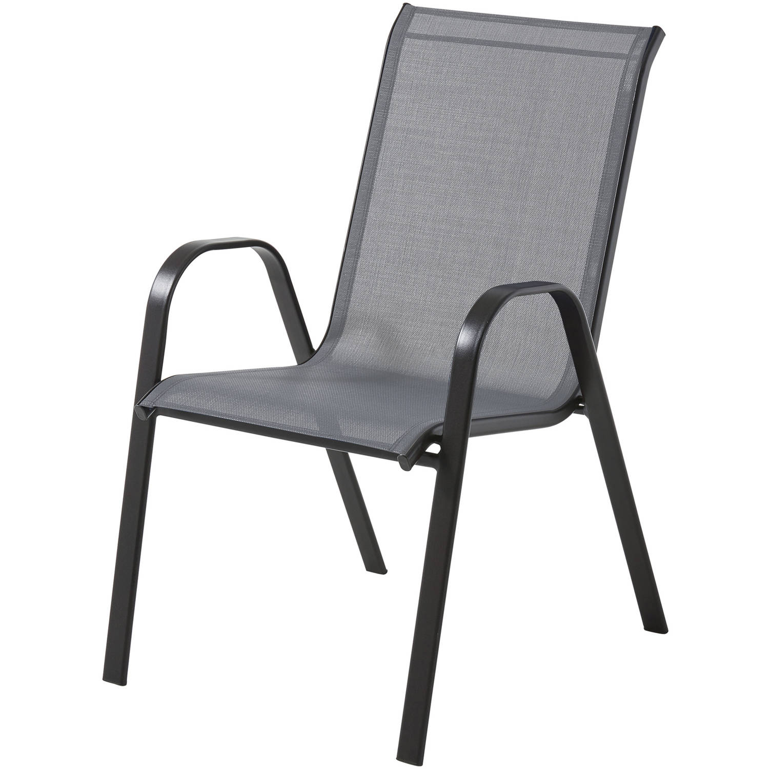 Stackable Lawn Chairs Mainstays Heritage Park Stacking Sling Chair Grey