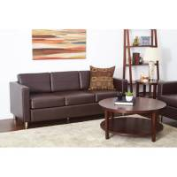 Pacific Easy-Care Espresso Faux Leather Sofa Couch with ...