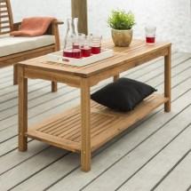 Solid Acacia Wood Patio Coffee Table Brown Indoor Outdoor