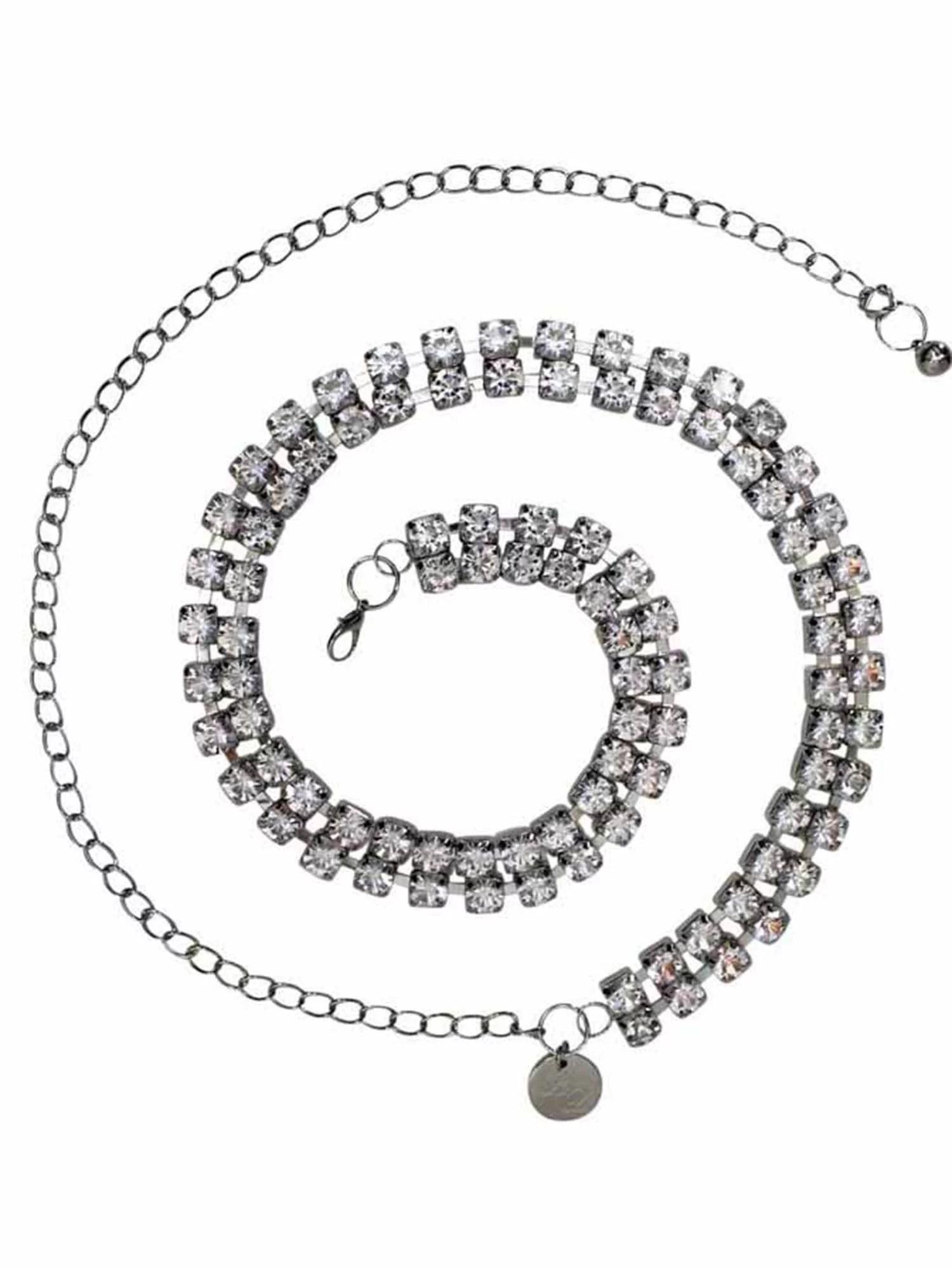 Silver Double Row Crystal Rhinestone Chain Link Belt