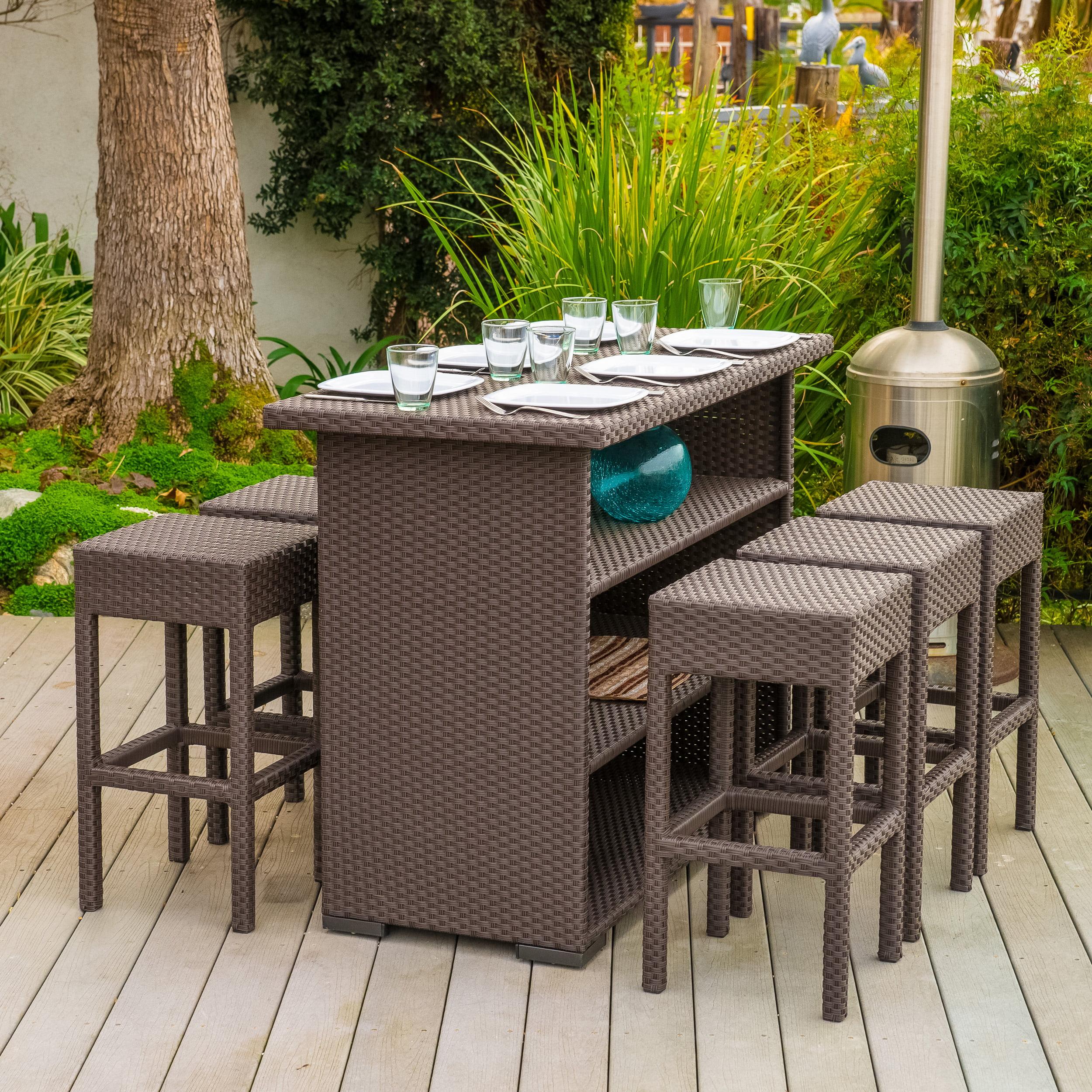 marcel outdoor 7 piece brown wicker bar set