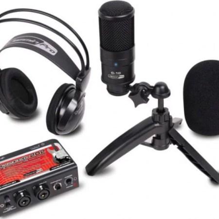Studio recording kit w/ USB audio interface condenser mic & studio headphones