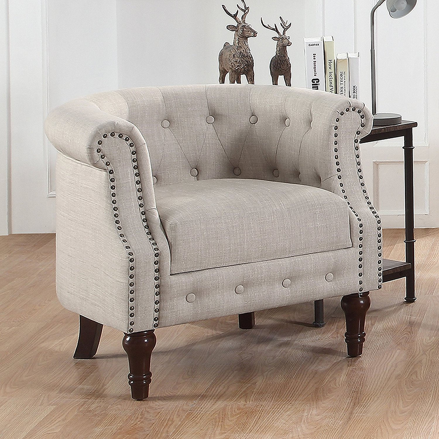 tufted nailhead chair ikea bar covers alton furniture da vigo barrel club with trim arms walmart com