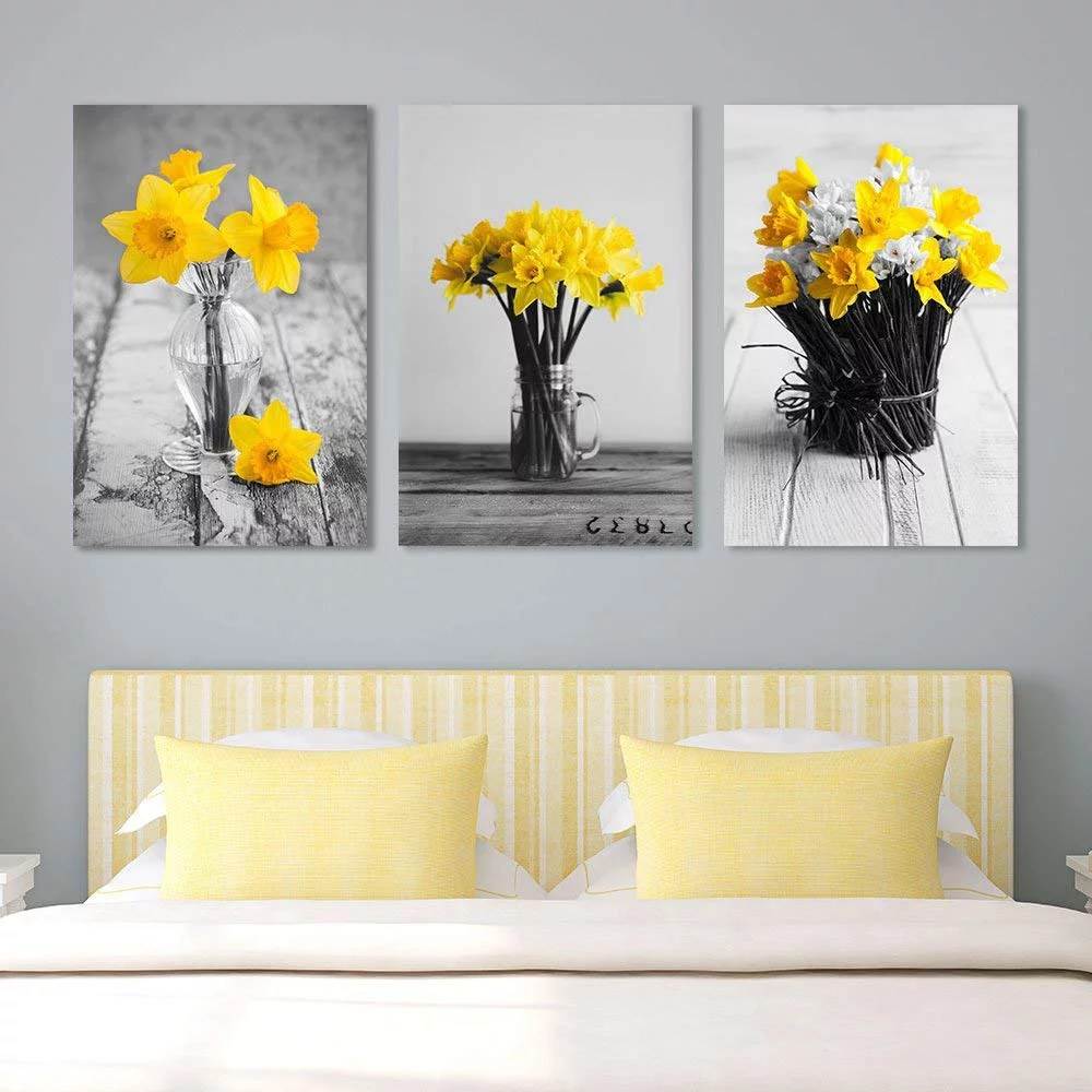 Wall26 Yellow Flowers In Vases Canvas Art Wall Decor
