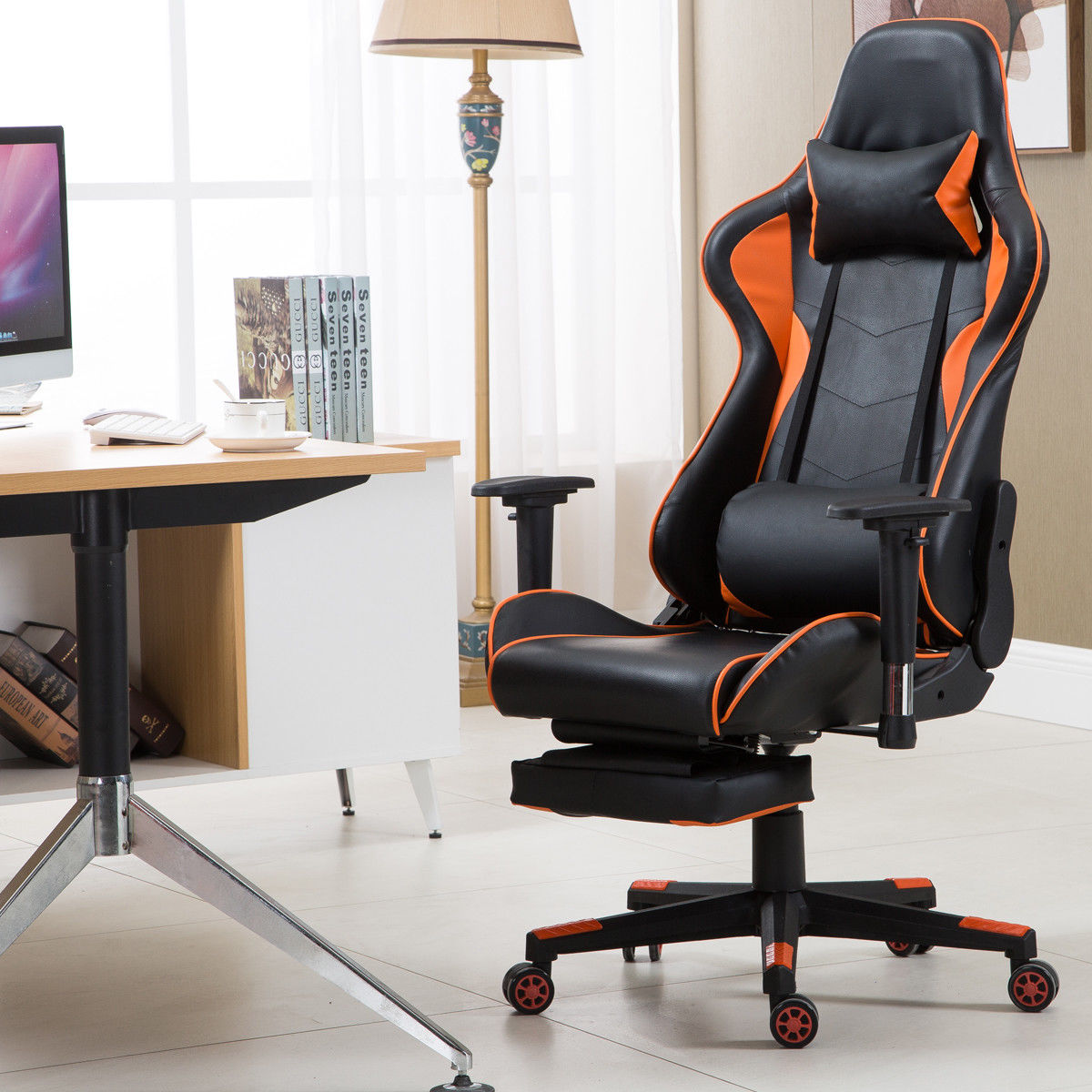 lumbar support office chair swing qatar goplus gaming high back racing recliner w footrest walmart com