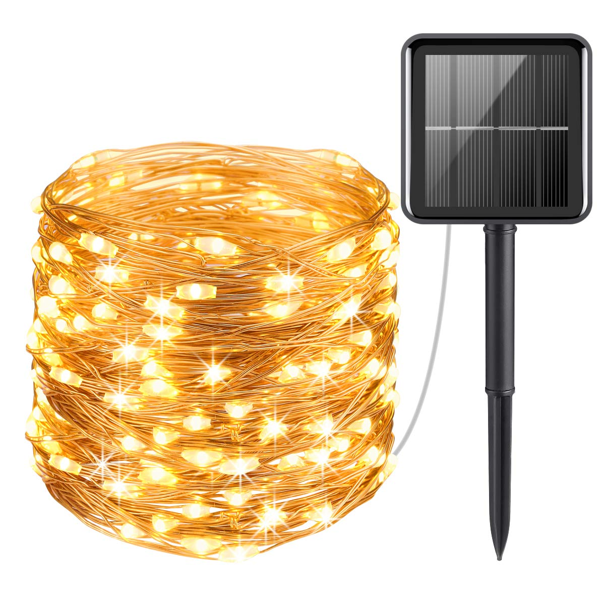 solar string lights outdoor 33ft 100 led solar powered fairy lights waterproof decorative lighting for patio garden yard party wedding warm white