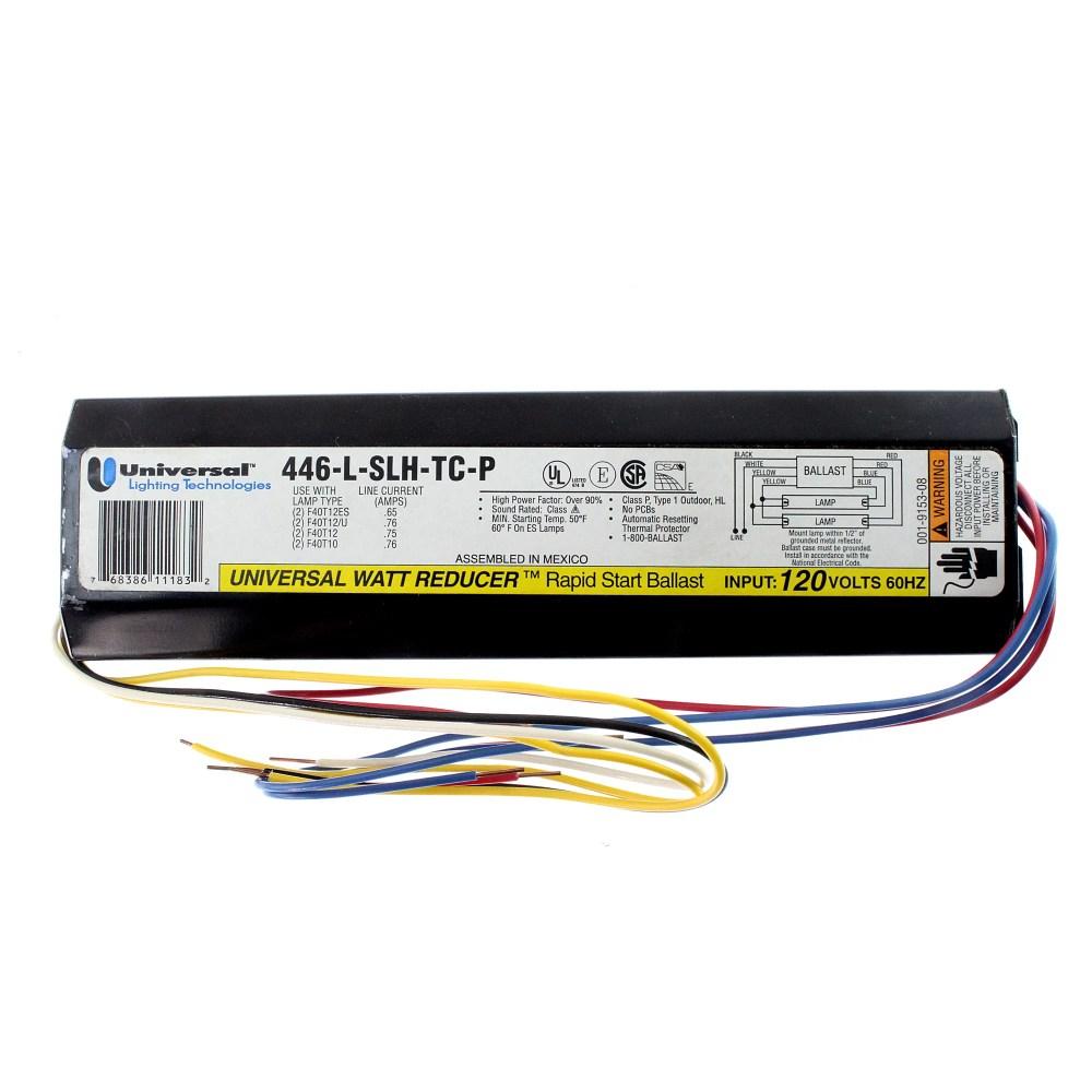 medium resolution of universal 446 l slh tc p fluorescent ballast 2 lamp f40t12 40w t12 120v walmart com
