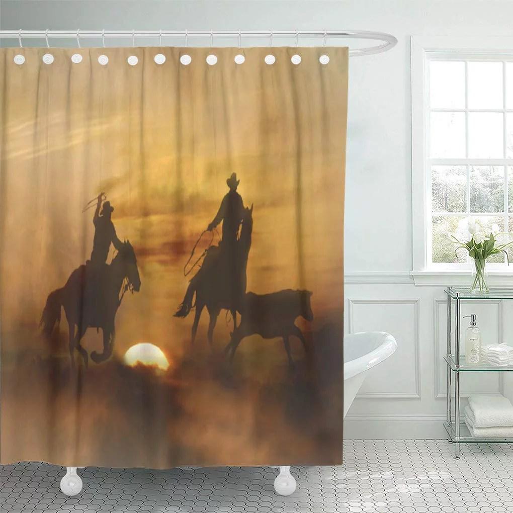 cynlon cowboy team roping horse horses western bathroom decor bath shower curtain 66x72 inch