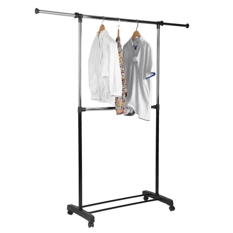 whitmor adjustable 2 rod garment rack rolling clothes organizer black chrome 20 13 x 36 25 x 73 0