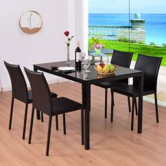 Chairs For Kitchen Oval Table Costway 5 Piece Dining Set Glass Top And 4 Pu Breakfast Furniture