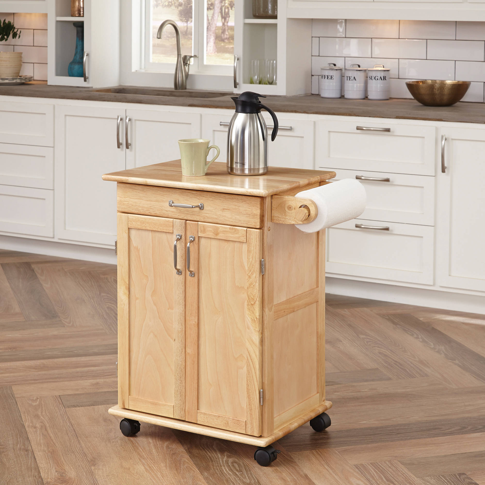 home styles solid wood kitchen cart natural walmart com
