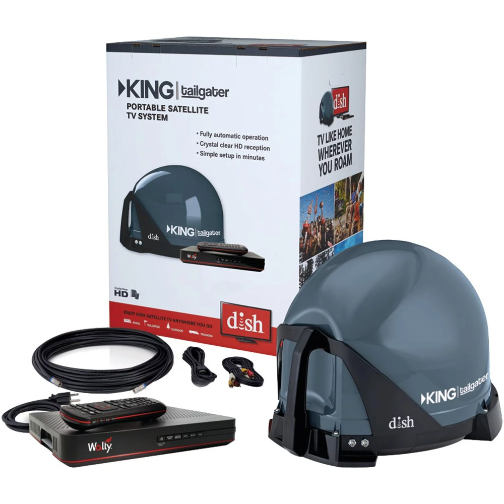 medium resolution of king vq4550 tailgater bundle portable satellite tv antenna with dish wally hd receiver for rvs trucks tailgating camping and outdoor walmart com